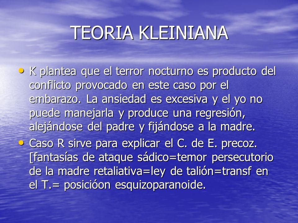 TEORIA KLEINIANA K plantea que el terror nocturno es producto del conflicto provocado en este caso por el embarazo. La ansiedad es excesiva y el yo no