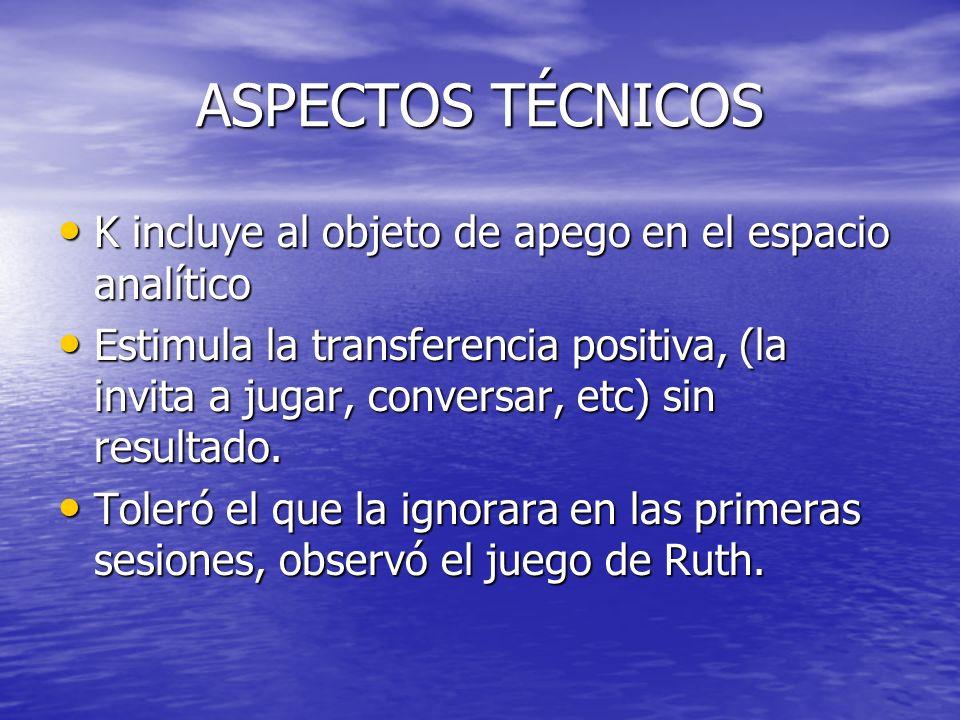 ASPECTOS TÉCNICOS K incluye al objeto de apego en el espacio analítico K incluye al objeto de apego en el espacio analítico Estimula la transferencia