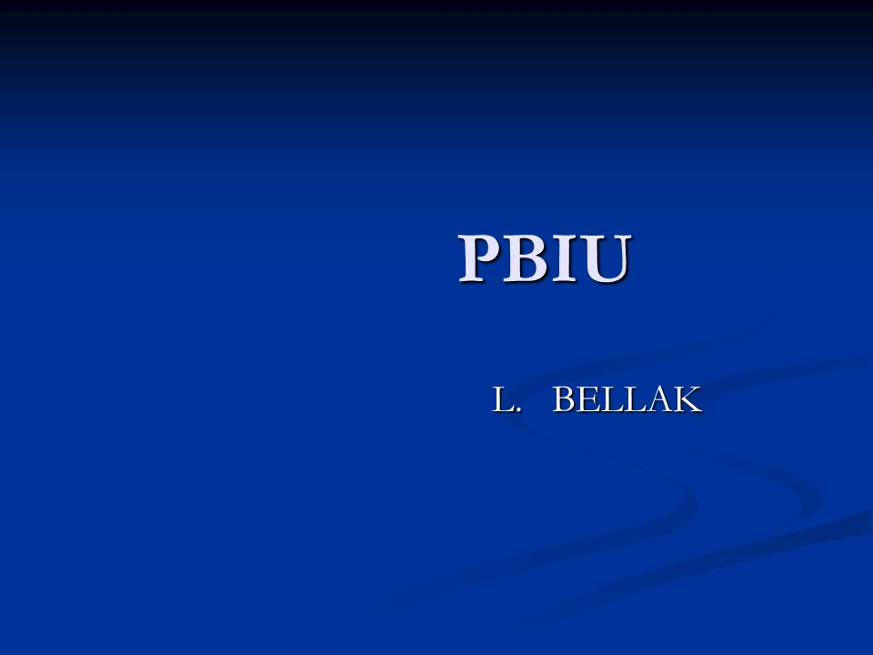 PBIU PBIU L. BELLAK L. BELLAK