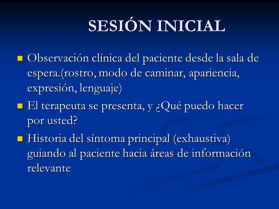 SESIÓN INICIAL SESIÓN INICIAL Observación clínica del paciente desde la sala de espera.(rostro, modo de caminar, apariencia, expresión, lenguaje) Obse
