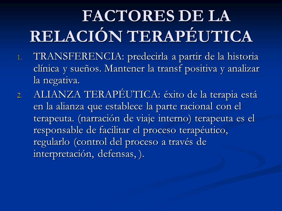 FACTORES DE LA RELACIÓN TERAPÉUTICA FACTORES DE LA RELACIÓN TERAPÉUTICA 1. TRANSFERENCIA: predecirla a partir de la historia clínica y sueños. Mantene