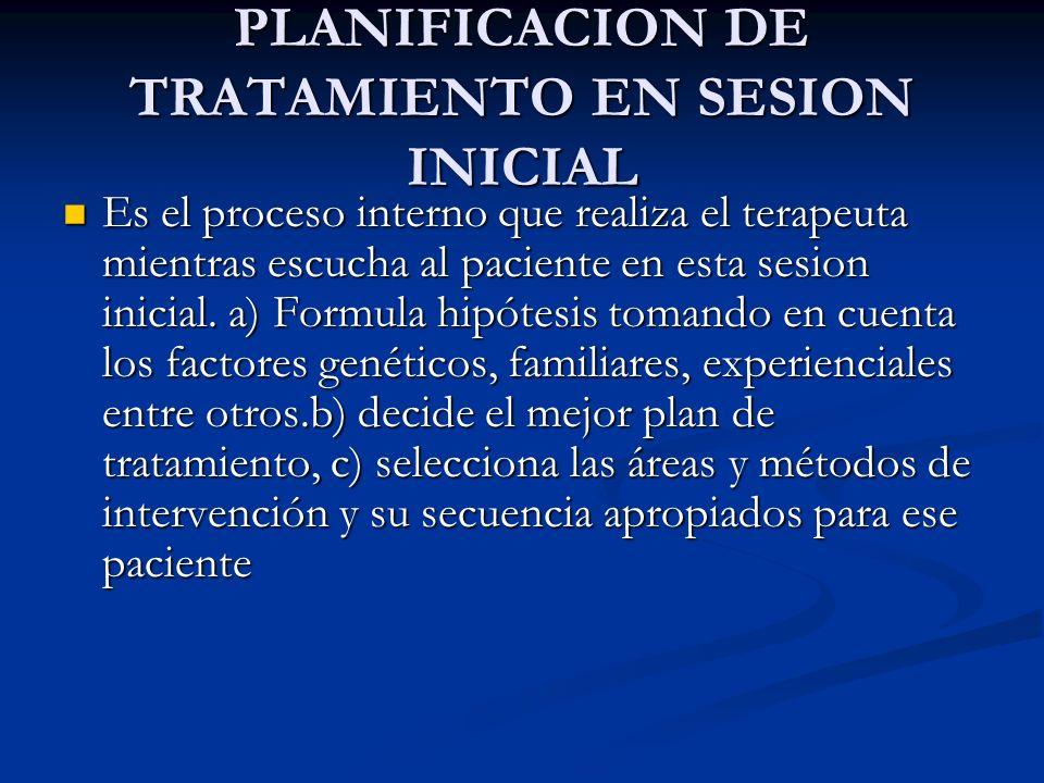 PLANIFICACION DE TRATAMIENTO EN SESION INICIAL Es el proceso interno que realiza el terapeuta mientras escucha al paciente en esta sesion inicial. a)