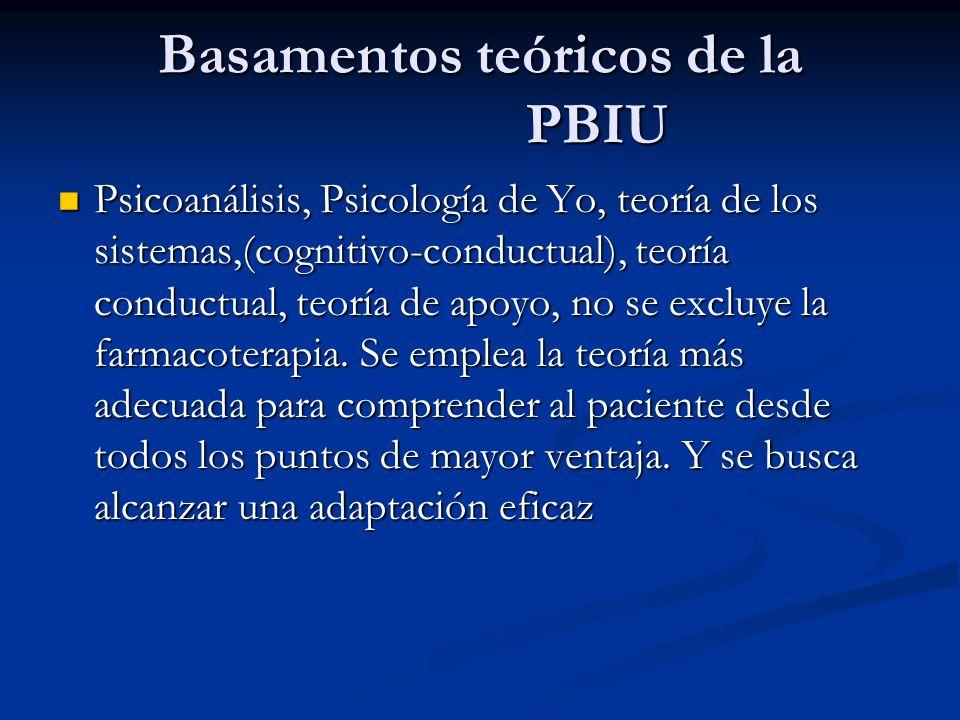 Basamentos teóricos de la PBIU Psicoanálisis, Psicología de Yo, teoría de los sistemas,(cognitivo-conductual), teoría conductual, teoría de apoyo, no