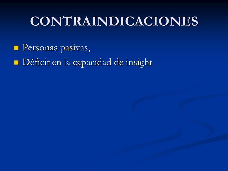 CONTRAINDICACIONES Personas pasivas, Personas pasivas, Déficit en la capacidad de insight Déficit en la capacidad de insight