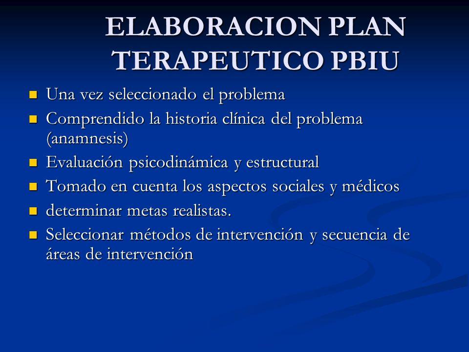 PSICOTERAPIA PBIU Sigue el modelo médico, práctico, de atención de emergencia Sigue el modelo médico, práctico, de atención de emergencia Tiene restricción de tiempo (4 a 6 sesiones) Tiene restricción de tiempo (4 a 6 sesiones)