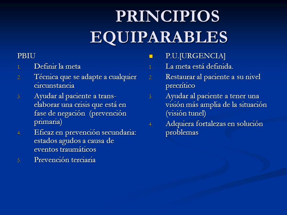 PRINCIPIOS EQUIPARABLES PRINCIPIOS EQUIPARABLES PBIU 1. Definir la meta 2. Técnica que se adapte a cualquier circunstancia 3. Ayudar al paciente a tra