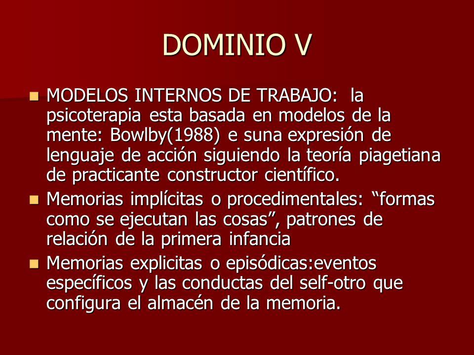 DOMINIO V MODELOS INTERNOS DE TRABAJO: la psicoterapia esta basada en modelos de la mente: Bowlby(1988) e suna expresión de lenguaje de acción siguien