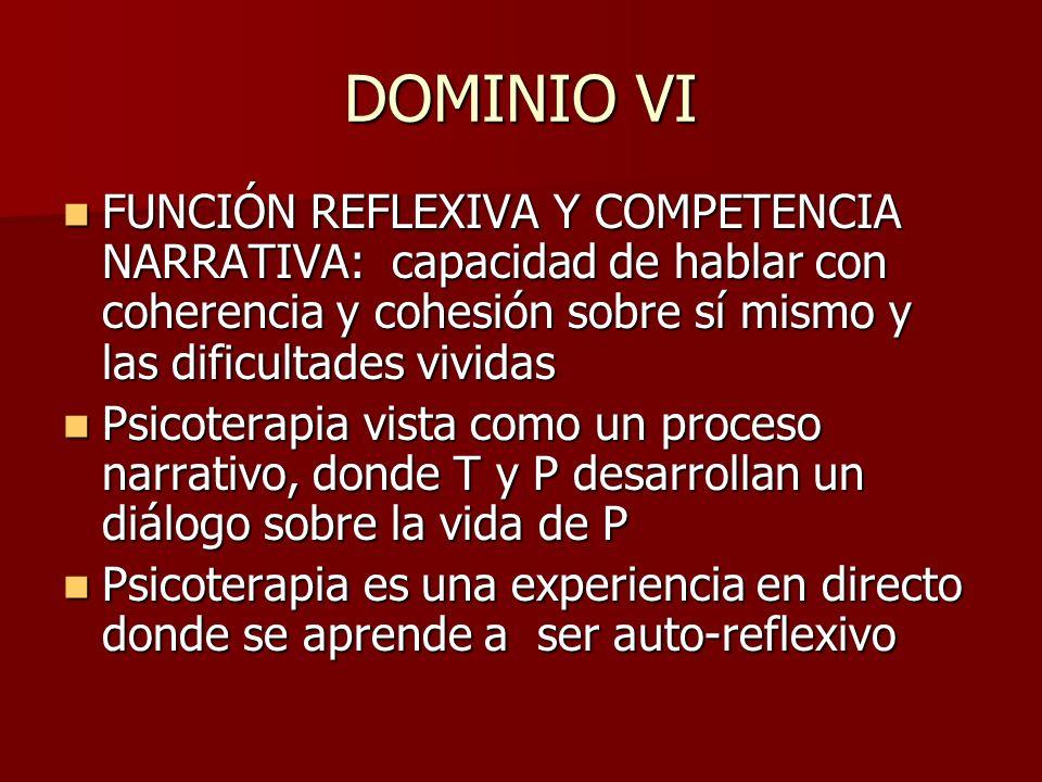 DOMINIO VI FUNCIÓN REFLEXIVA Y COMPETENCIA NARRATIVA: capacidad de hablar con coherencia y cohesión sobre sí mismo y las dificultades vividas FUNCIÓN