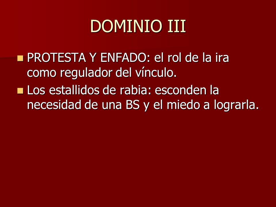 DOMINIO III PROTESTA Y ENFADO: el rol de la ira como regulador del vínculo. PROTESTA Y ENFADO: el rol de la ira como regulador del vínculo. Los estall