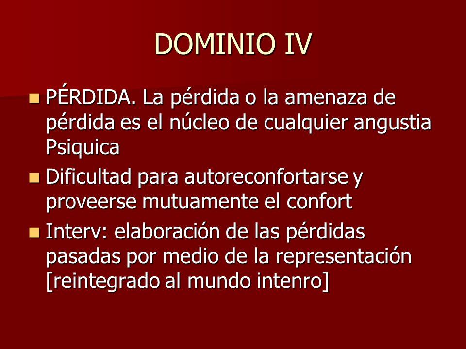 DOMINIO IV PÉRDIDA. La pérdida o la amenaza de pérdida es el núcleo de cualquier angustia Psiquica PÉRDIDA. La pérdida o la amenaza de pérdida es el n