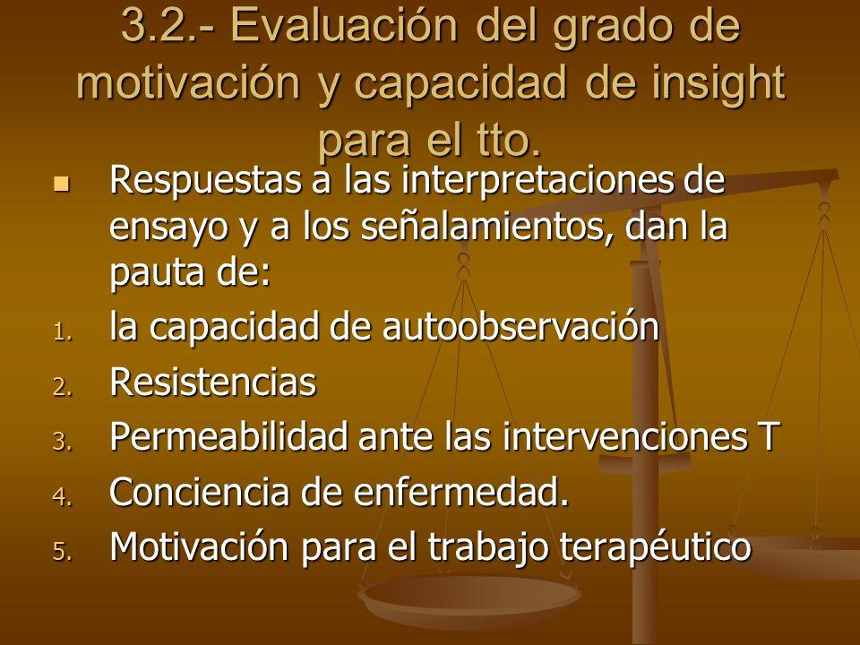 3.2.- Evaluación del grado de motivación y capacidad de insight para el tto. Respuestas a las interpretaciones de ensayo y a los señalamientos, dan la