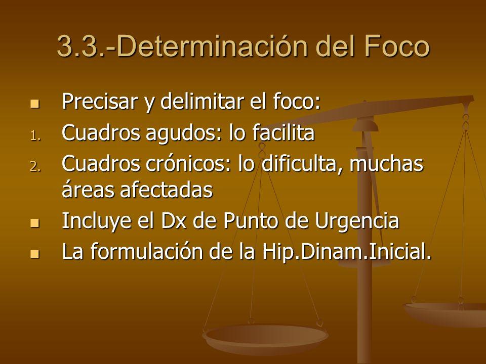 3.3.-Determinación del Foco Precisar y delimitar el foco: Precisar y delimitar el foco: 1. Cuadros agudos: lo facilita 2. Cuadros crónicos: lo dificul