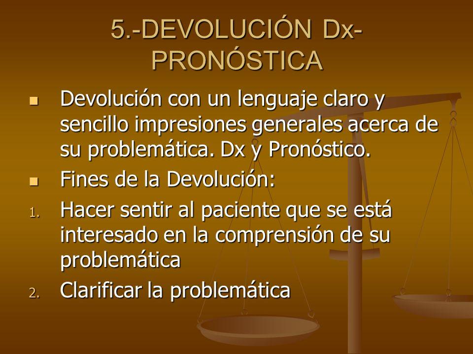 5.-DEVOLUCIÓN Dx- PRONÓSTICA Devolución con un lenguaje claro y sencillo impresiones generales acerca de su problemática. Dx y Pronóstico. Devolución