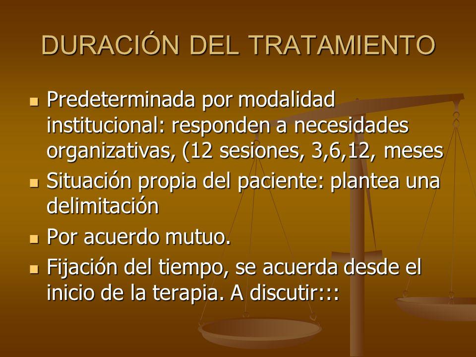 DURACIÓN DEL TRATAMIENTO Predeterminada por modalidad institucional: responden a necesidades organizativas, (12 sesiones, 3,6,12, meses Predeterminada