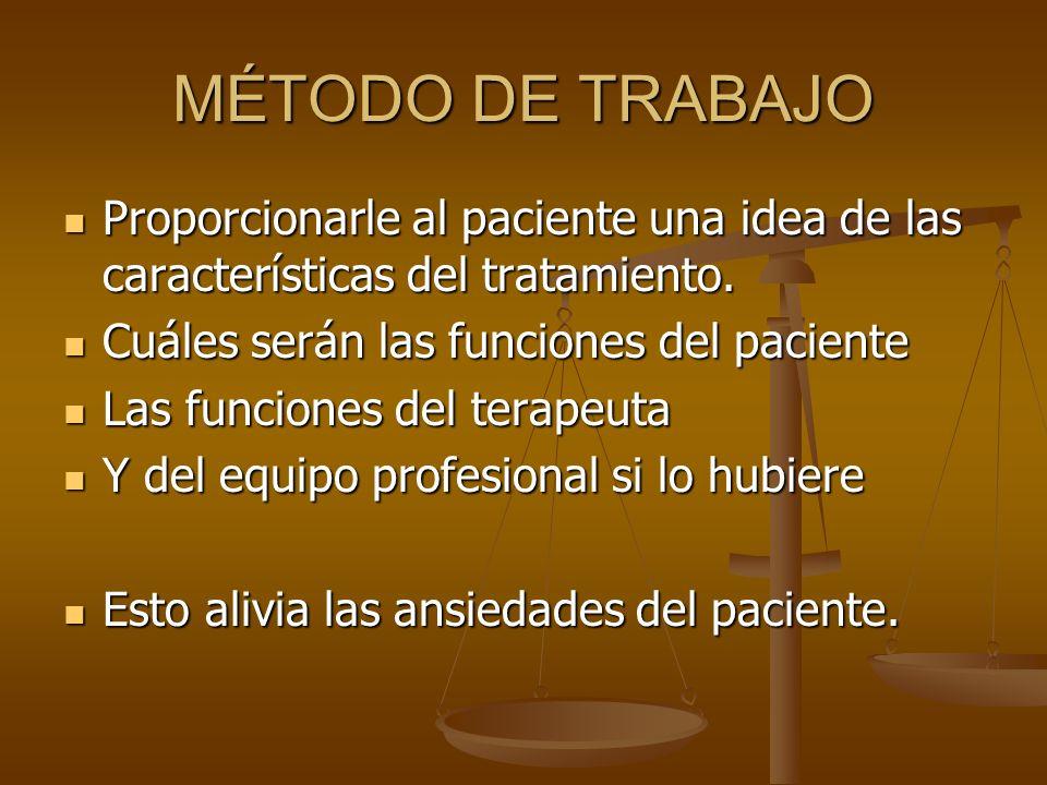 MÉTODO DE TRABAJO Proporcionarle al paciente una idea de las características del tratamiento. Proporcionarle al paciente una idea de las característic
