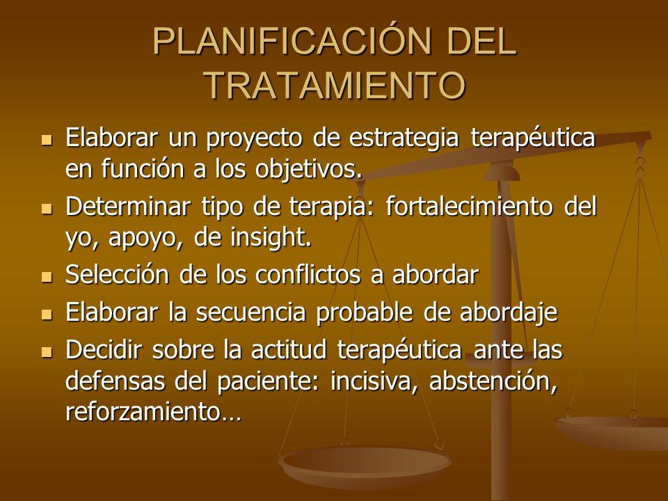 PLANIFICACIÓN DEL TRATAMIENTO Elaborar un proyecto de estrategia terapéutica en función a los objetivos. Elaborar un proyecto de estrategia terapéutic