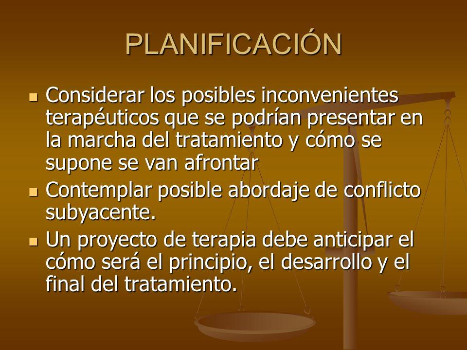 PLANIFICACIÓN Considerar los posibles inconvenientes terapéuticos que se podrían presentar en la marcha del tratamiento y cómo se supone se van afront