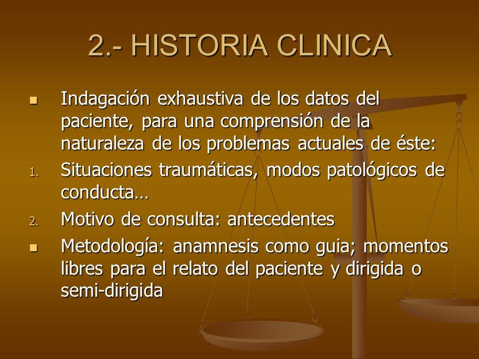 2.- HISTORIA CLINICA Indagación exhaustiva de los datos del paciente, para una comprensión de la naturaleza de los problemas actuales de éste: Indagac
