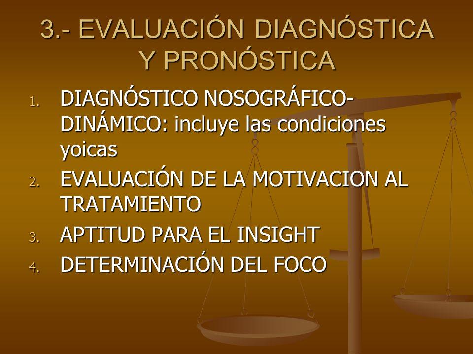 3.- EVALUACIÓN DIAGNÓSTICA Y PRONÓSTICA 1. DIAGNÓSTICO NOSOGRÁFICO- DINÁMICO: incluye las condiciones yoicas 2. EVALUACIÓN DE LA MOTIVACION AL TRATAMI