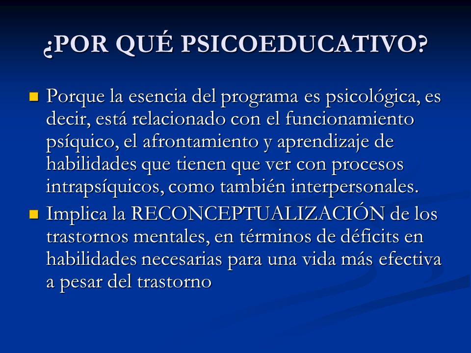 ¿POR QUÉ PSICOEDUCATIVO? Porque la esencia del programa es psicológica, es decir, está relacionado con el funcionamiento psíquico, el afrontamiento y