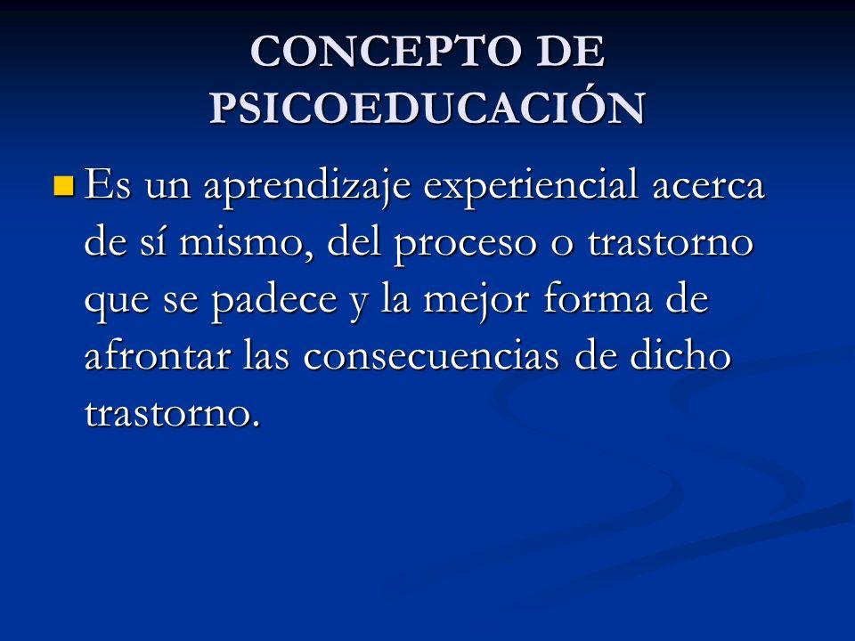 CONCEPTO DE PSICOEDUCACIÓN Es un aprendizaje experiencial acerca de sí mismo, del proceso o trastorno que se padece y la mejor forma de afrontar las c