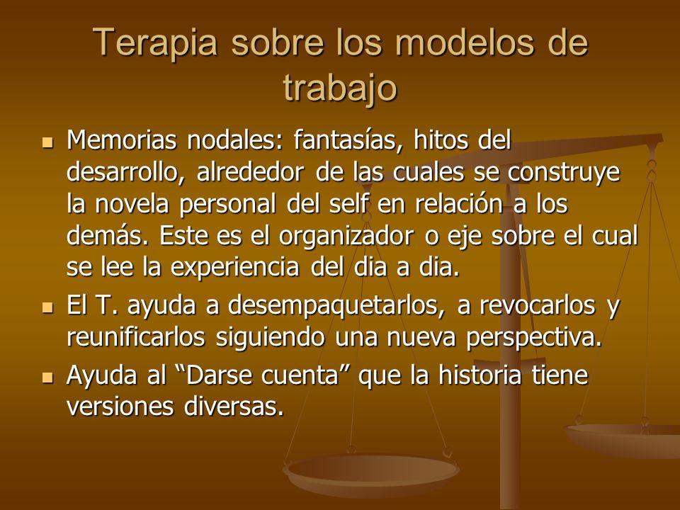Terapia sobre los modelos de trabajo Memorias nodales: fantasías, hitos del desarrollo, alrededor de las cuales se construye la novela personal del se