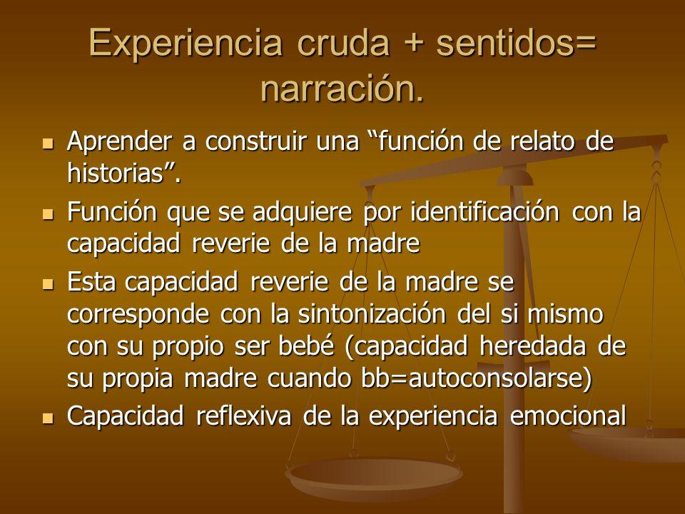 Experiencia cruda + sentidos= narración. Aprender a construir una función de relato de historias. Aprender a construir una función de relato de histor