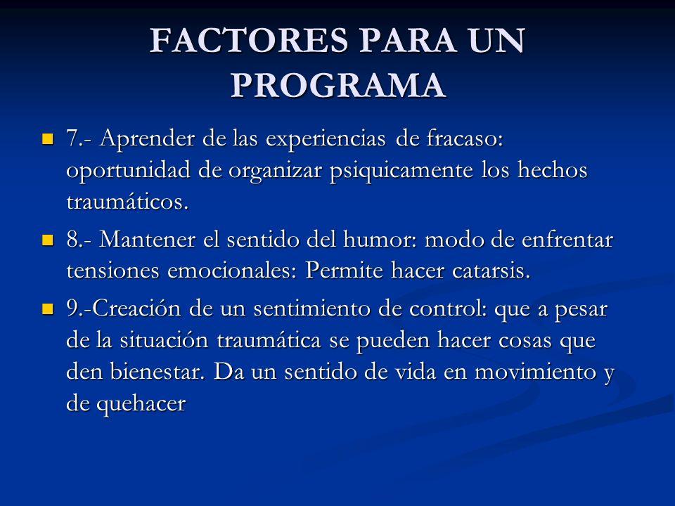 FACTORES PARA UN PROGRAMA 7.- Aprender de las experiencias de fracaso: oportunidad de organizar psiquicamente los hechos traumáticos. 7.- Aprender de