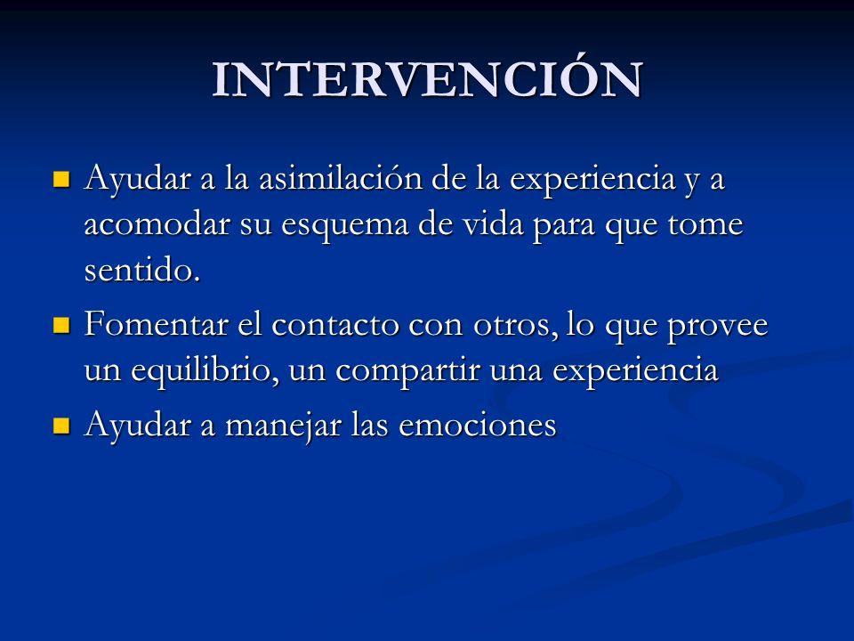 INTERVENCIÓN Ayudar a la asimilación de la experiencia y a acomodar su esquema de vida para que tome sentido. Ayudar a la asimilación de la experienci