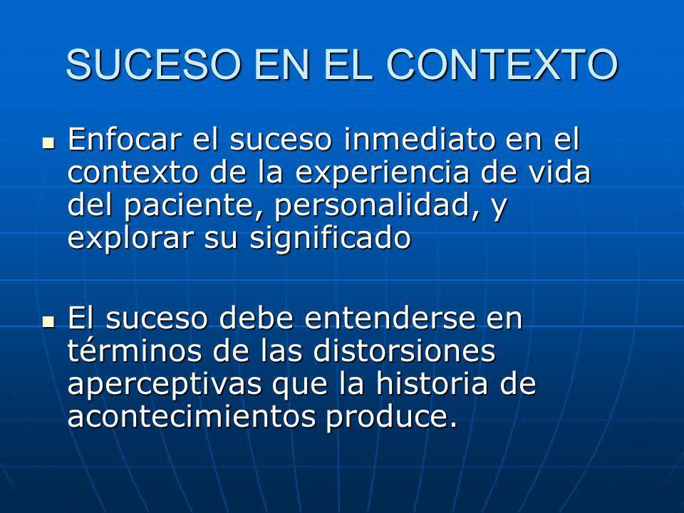 SUCESO EN EL CONTEXTO Enfocar el suceso inmediato en el contexto de la experiencia de vida del paciente, personalidad, y explorar su significado Enfoc