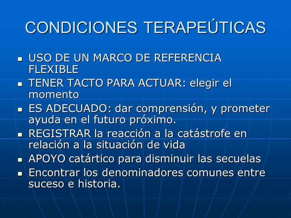 CONDICIONES TERAPEÚTICAS USO DE UN MARCO DE REFERENCIA FLEXIBLE USO DE UN MARCO DE REFERENCIA FLEXIBLE TENER TACTO PARA ACTUAR: elegir el momento TENE