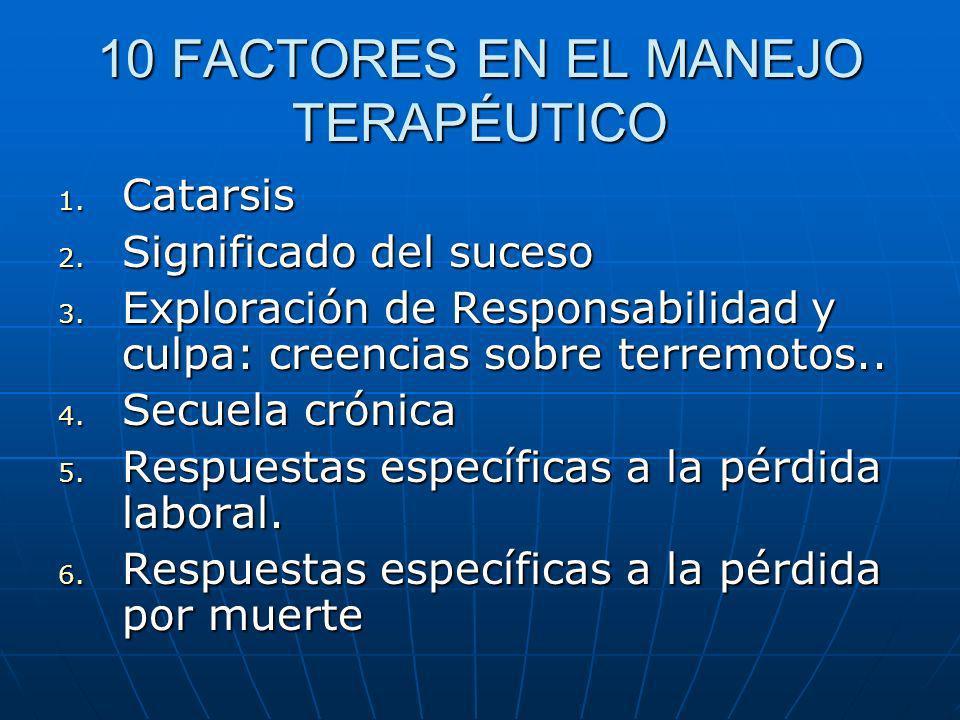 10 FACTORES EN EL MANEJO TERAPÉUTICO 1. Catarsis 2. Significado del suceso 3. Exploración de Responsabilidad y culpa: creencias sobre terremotos.. 4.