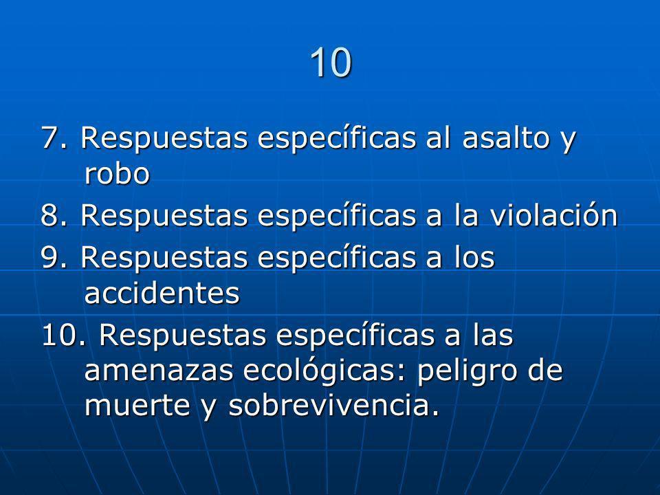10 7. Respuestas específicas al asalto y robo 8. Respuestas específicas a la violación 9. Respuestas específicas a los accidentes 10. Respuestas espec
