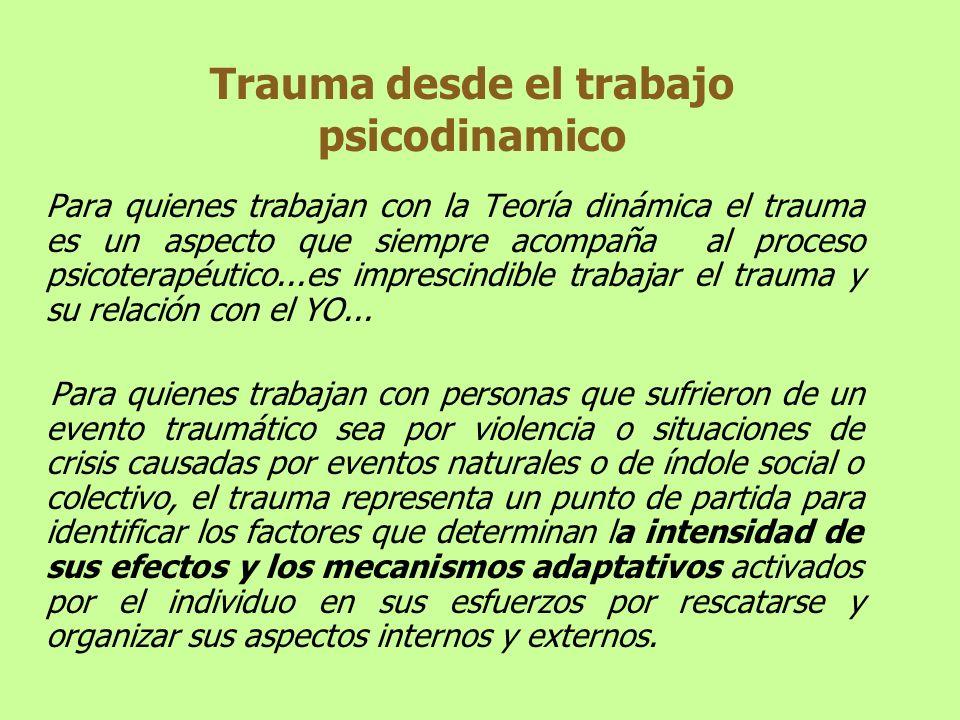Trauma desde el trabajo psicodinamico Para quienes trabajan con la Teoría dinámica el trauma es un aspecto que siempre acompaña al proceso psicoterapé