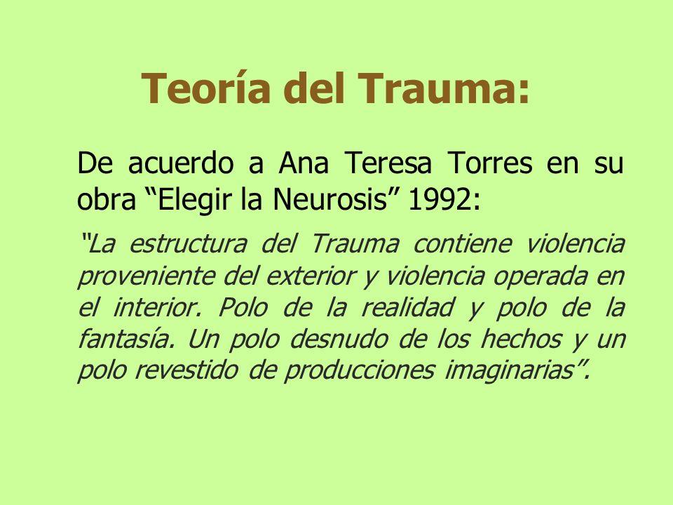 Teoría del Trauma: De acuerdo a Ana Teresa Torres en su obra Elegir la Neurosis 1992: La estructura del Trauma contiene violencia proveniente del exte