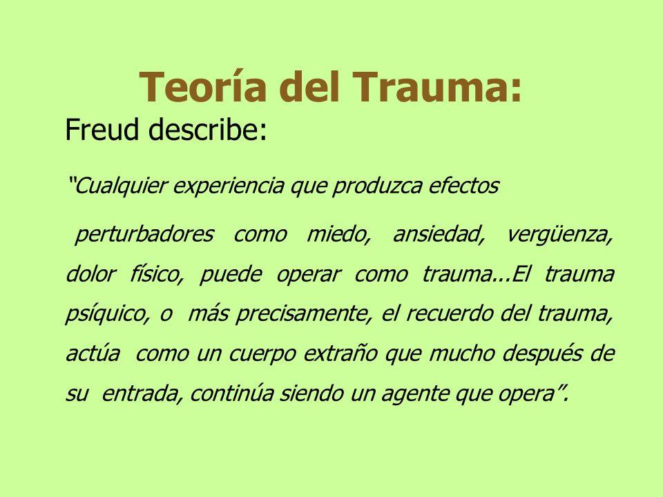 Freud describe: Cualquier experiencia que produzca efectos perturbadores como miedo, ansiedad, vergüenza, dolor físico, puede operar como trauma...El
