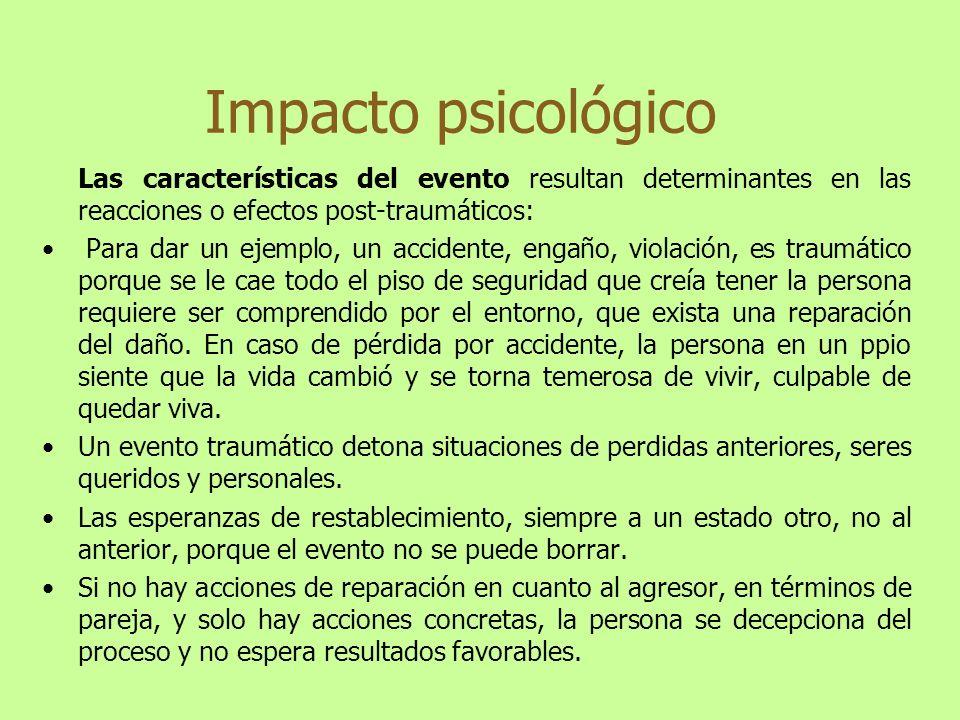 Las características del evento resultan determinantes en las reacciones o efectos post-traumáticos: Para dar un ejemplo, un accidente, engaño, violaci