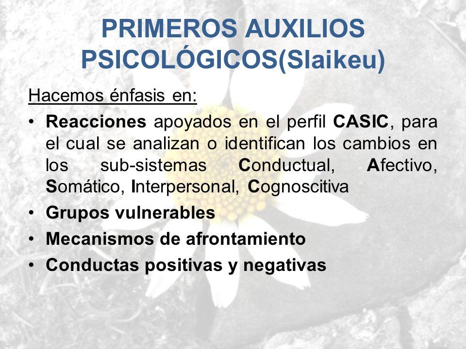 Hacemos énfasis en: Reacciones apoyados en el perfil CASIC, para el cual se analizan o identifican los cambios en los sub-sistemas Conductual, Afectiv