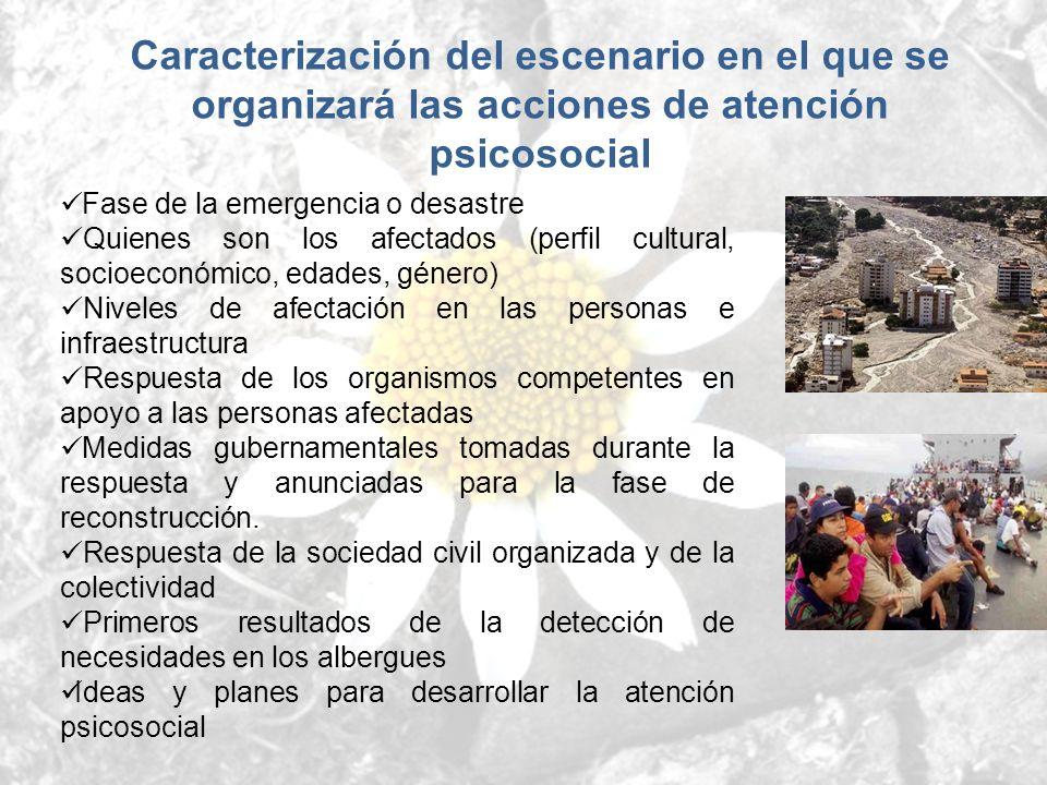 Caracterización del escenario en el que se organizará las acciones de atención psicosocial Fase de la emergencia o desastre Quienes son los afectados