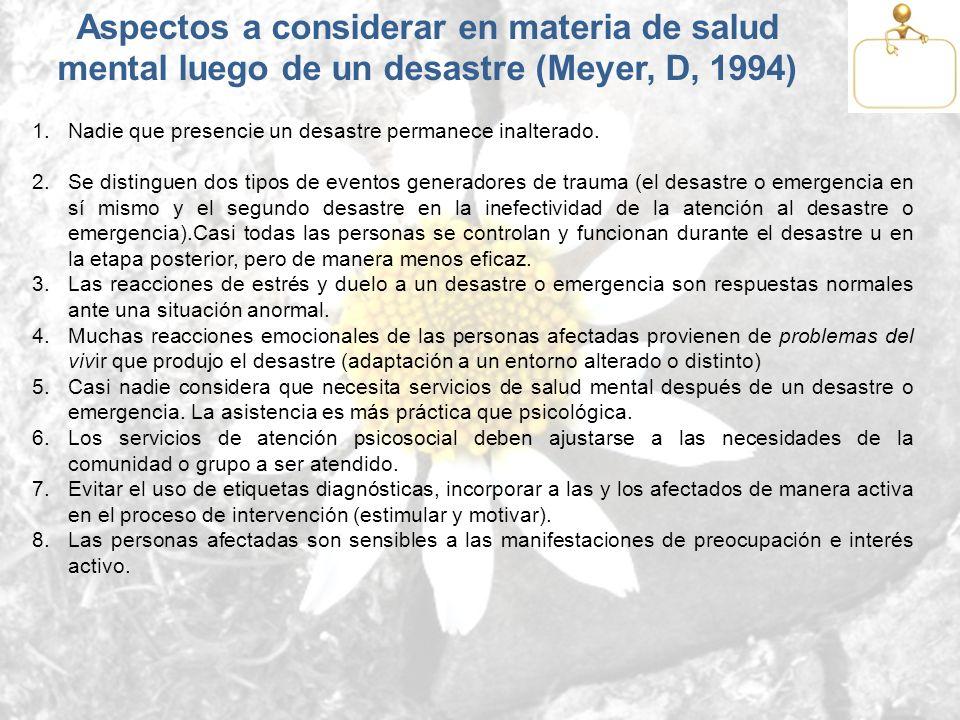 Aspectos a considerar en materia de salud mental luego de un desastre (Meyer, D, 1994) 1.Nadie que presencie un desastre permanece inalterado. 2.Se di