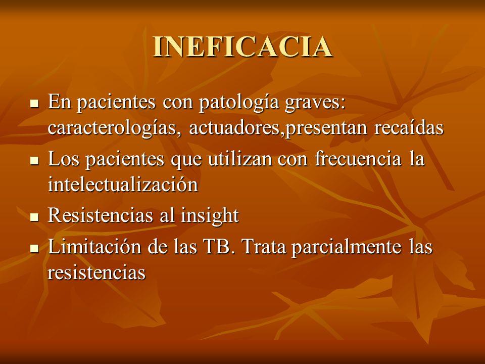 INEFICACIA En pacientes con patología graves: caracterologías, actuadores,presentan recaídas En pacientes con patología graves: caracterologías, actua