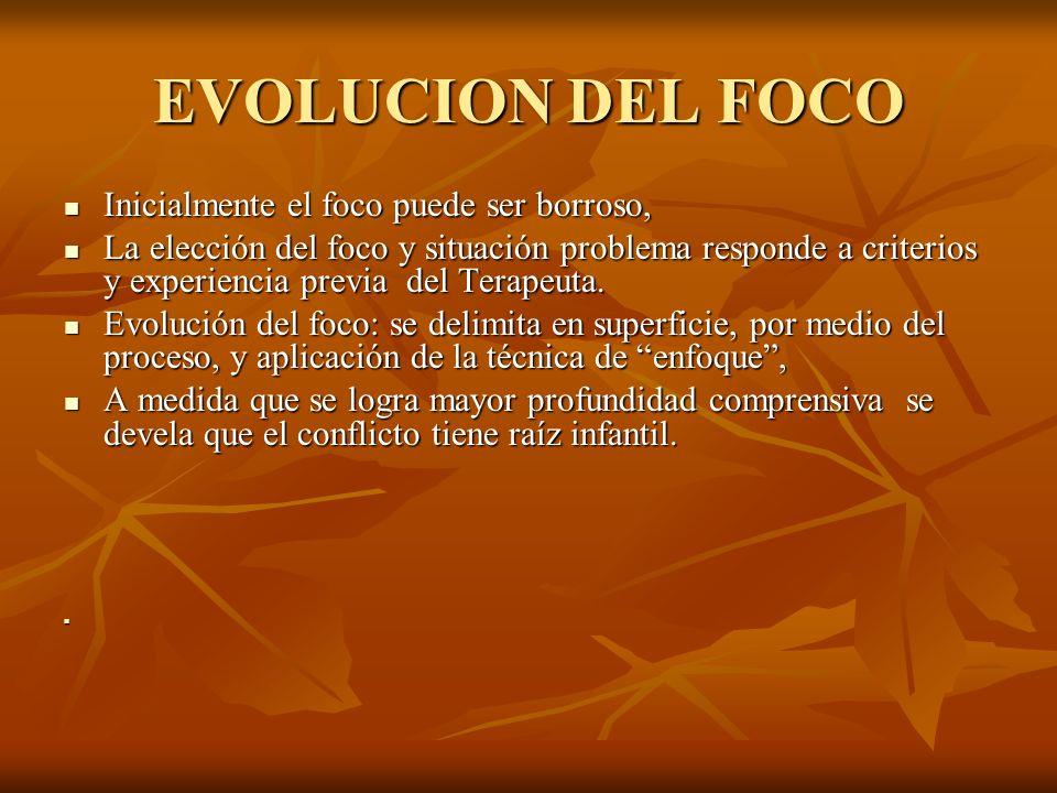 EVOLUCION DEL FOCO Inicialmente el foco puede ser borroso, Inicialmente el foco puede ser borroso, La elección del foco y situación problema responde