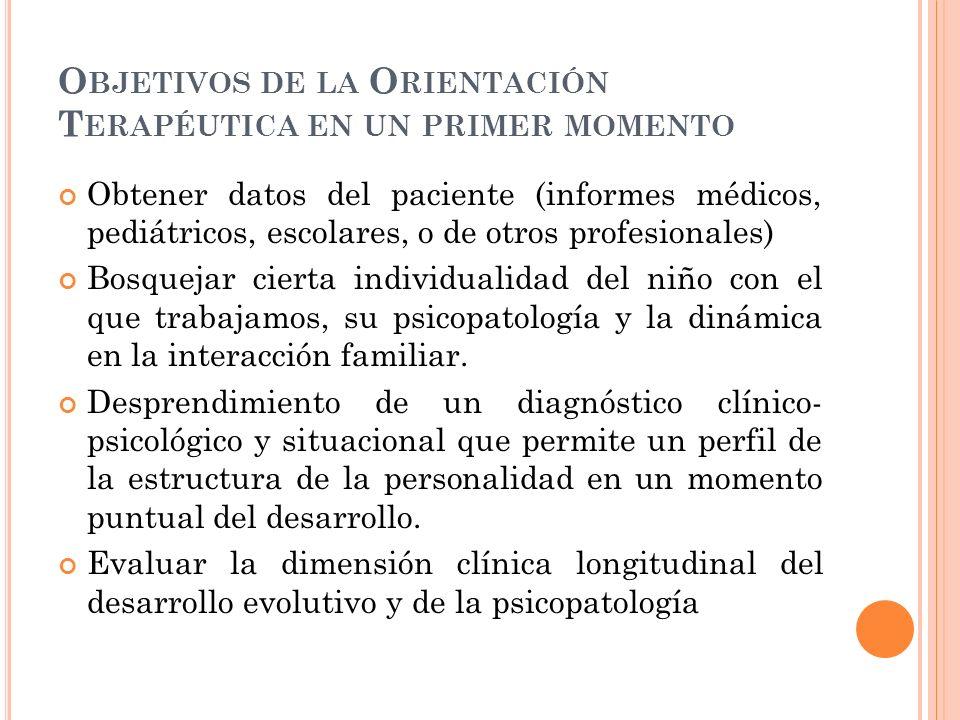 O BJETIVOS DE LA O RIENTACIÓN T ERAPÉUTICA EN UN PRIMER MOMENTO Obtener datos del paciente (informes médicos, pediátricos, escolares, o de otros profe