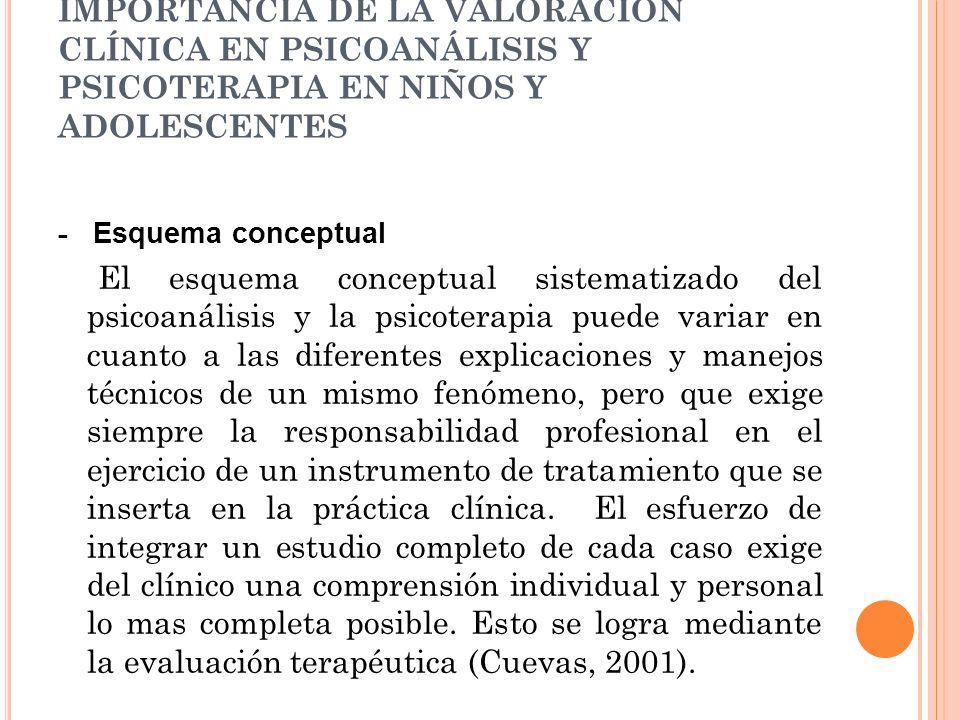 IMPORTANCIA DE LA VALORACIÓN CLÍNICA EN PSICOANÁLISIS Y PSICOTERAPIA EN NIÑOS Y ADOLESCENTES - Esquema conceptual El esquema conceptual sistematizado
