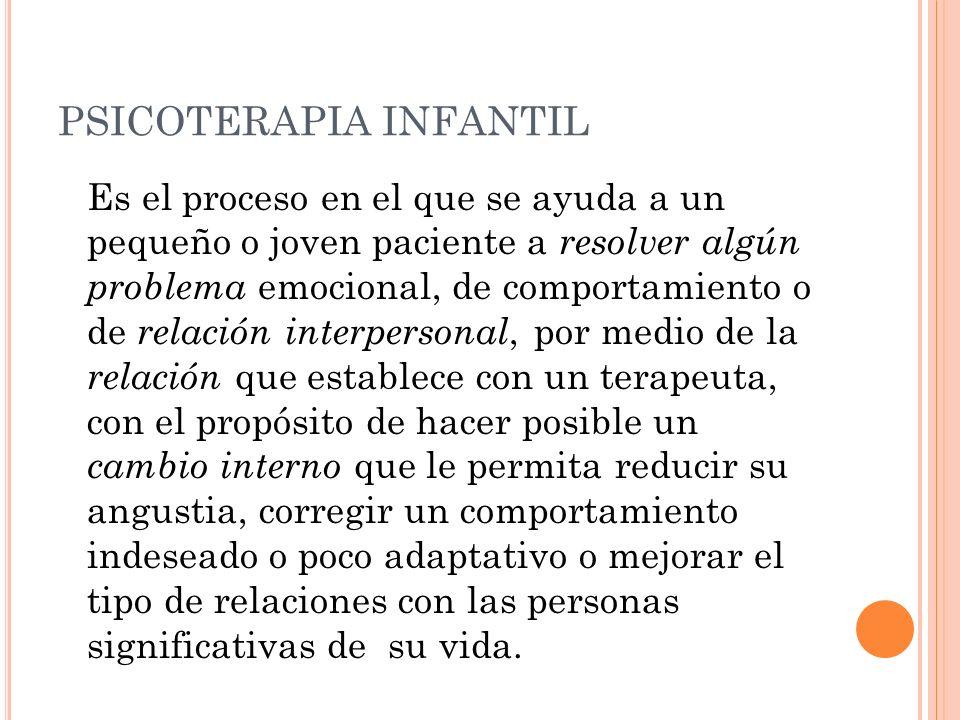 PSICOTERAPIA INFANTIL Es el proceso en el que se ayuda a un pequeño o joven paciente a resolver algún problema emocional, de comportamiento o de relac