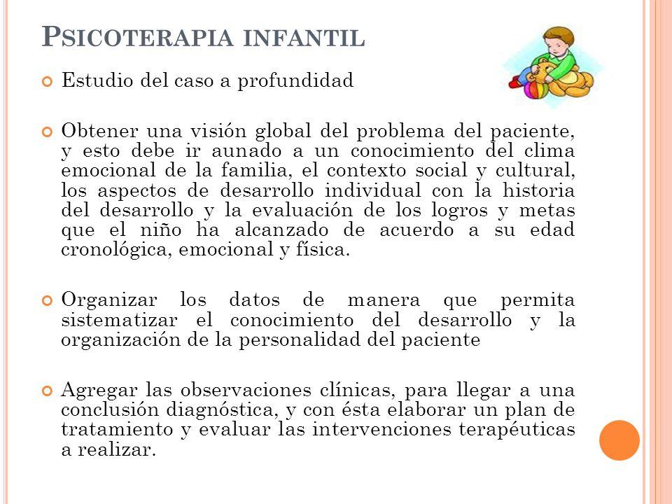 P SICOTERAPIA INFANTIL Estudio del caso a profundidad Obtener una visión global del problema del paciente, y esto debe ir aunado a un conocimiento del
