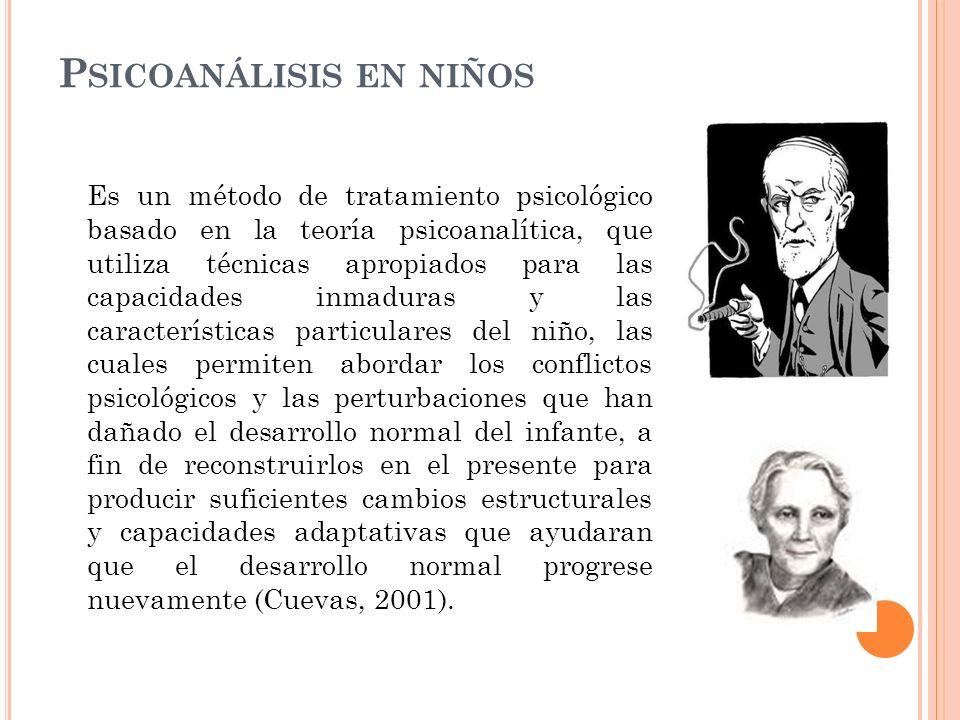 P SICOANÁLISIS EN NIÑOS Es un método de tratamiento psicológico basado en la teoría psicoanalítica, que utiliza técnicas apropiados para las capacidad