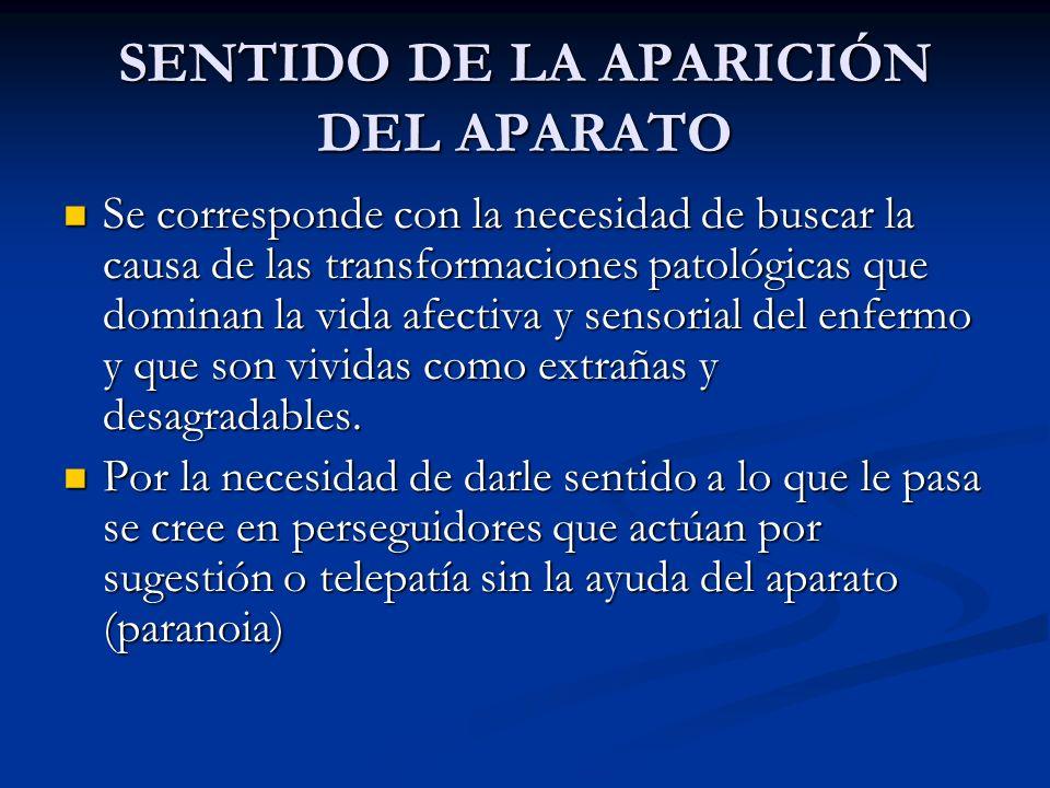 SENTIDO DE LA APARICIÓN DEL APARATO Se corresponde con la necesidad de buscar la causa de las transformaciones patológicas que dominan la vida afectiv