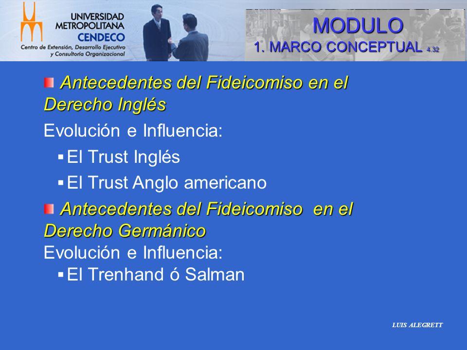 Antecedentes del Fideicomiso en el Derecho Inglés Evolución e Influencia: El Trust Inglés El Trust Anglo americano Antecedentes del Fideicomiso en el