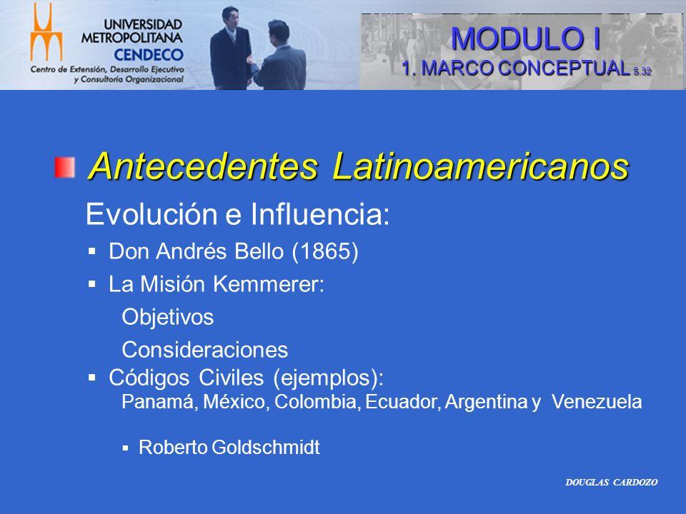 Antecedentes Latinoamericanos Evolución e Influencia: Don Andrés Bello (1865) La Misión Kemmerer: Objetivos Consideraciones Códigos Civiles (ejemplos)